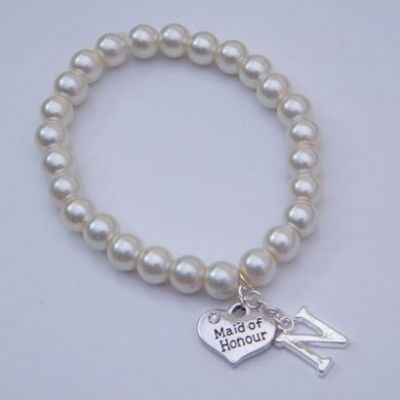 Maid Of Honour Initial Bracelet - Beaded Style